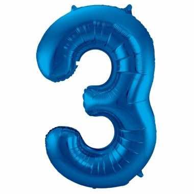 Cijfer 3 ballon blauw 86 cm
