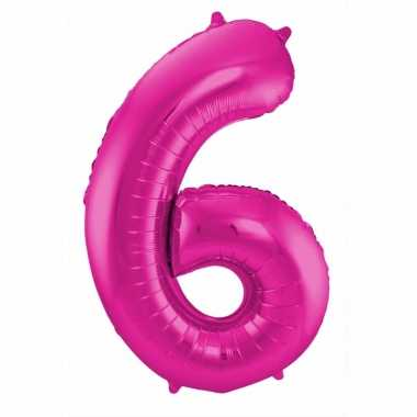 Cijfer 6 ballon roze 86 cm