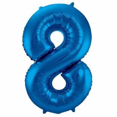 Cijfer 8 ballon blauw 86 cm