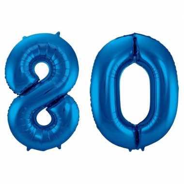 Cijfer 80 ballon blauw 86 cm