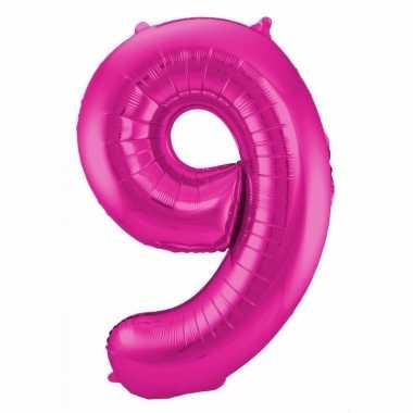 Cijfer 9 ballon roze 86 cm