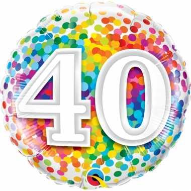 Gefeliciteerd ballon 40 jaar confettiprint 45 cm met helium gevuld