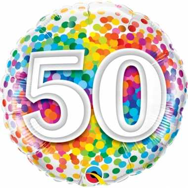 Gefeliciteerd ballon 50 jaar confettiprint 45 cm met helium gevuld