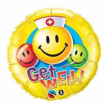 Gefeliciteerd ballon beterschap smiley 45 cm