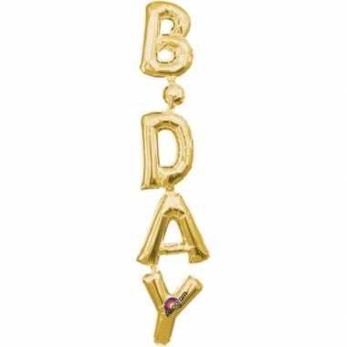 Gefeliciteerd ballon birthday goud 96 cm