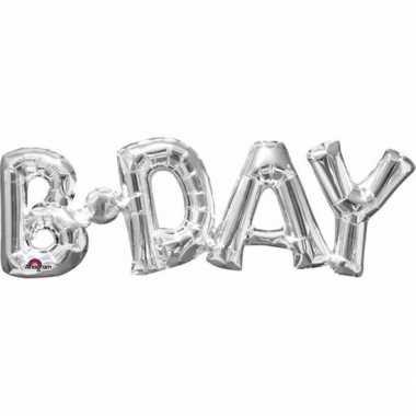 Gefeliciteerd ballon birthday zilver 66 cm
