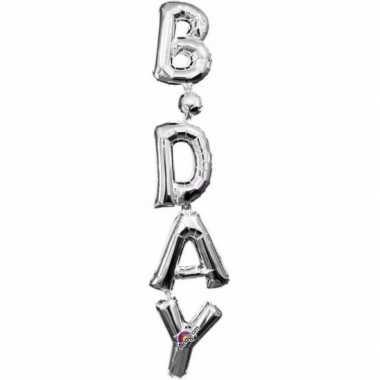 Gefeliciteerd ballon birthday zilver 96 cm