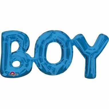 Gefeliciteerd ballon boy blauw 55 cm