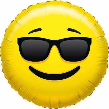 Gefeliciteerd ballon coole smiley 45 cm