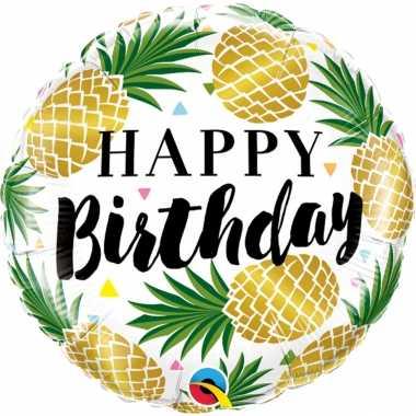 Gefeliciteerd ballon gefeliciteerd/happy birthday ananas 45 cm met he