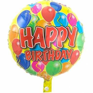 Gefeliciteerd ballon gefeliciteerd/happy birthday ballonnen 45 cm met