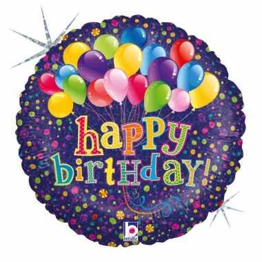 Gefeliciteerd ballon gefeliciteerd/happy birthday ballonnen 46 cm met