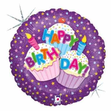 Gefeliciteerd ballon gefeliciteerd/happy birthday cup cakes 46 cm met