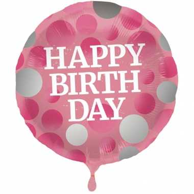 Gefeliciteerd ballon gefeliciteerd/happy birthday roze met stippen 45