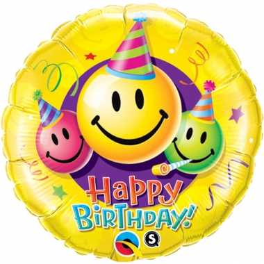 Gefeliciteerd ballon gefeliciteerd/happy birthday smiley 45 cm met helium gevuld