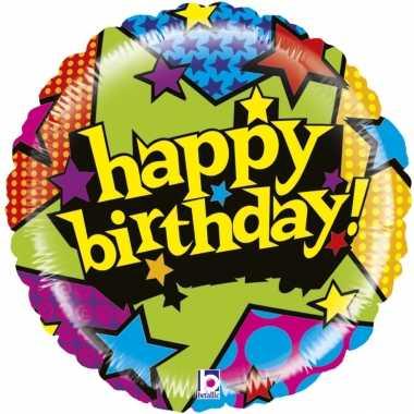 Gefeliciteerd ballon gefeliciteerd/happy birthday sterren 53 cm met h