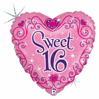 Gefeliciteerd ballon gefeliciteerd/happy birthday sweet 16/16e verjaa