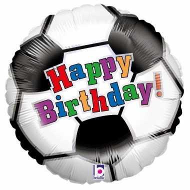 Gefeliciteerd ballon gefeliciteerd/happy birthday voetbal 46 cm met h
