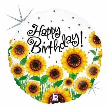 Gefeliciteerd ballon gefeliciteerd/happy birthday zonnebloem 46 cm me