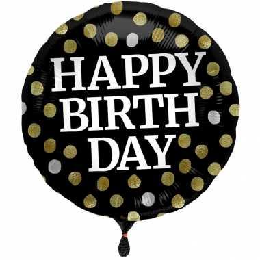Gefeliciteerd ballon gefeliciteerd/ happy birthday zwart met stippen