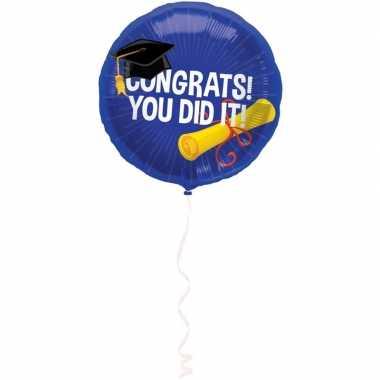 Gefeliciteerd ballon geslaagd/afgestudeerd 45 cm