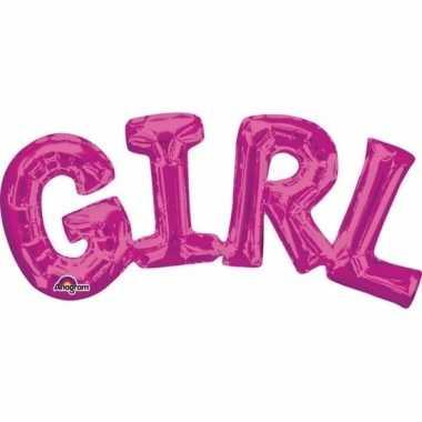 Gefeliciteerd ballon girl roze 55 cm
