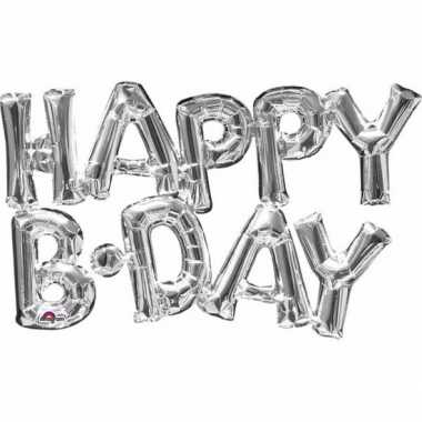 Gefeliciteerd ballon happy b day zilver 76 cm