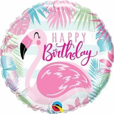 Gefeliciteerd ballon happy birthday flamingo 45 cm
