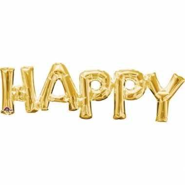 Gefeliciteerd ballon happy goud 76 cm