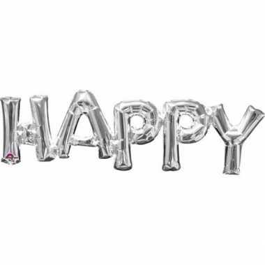 Gefeliciteerd ballon happy zilver 76 cm