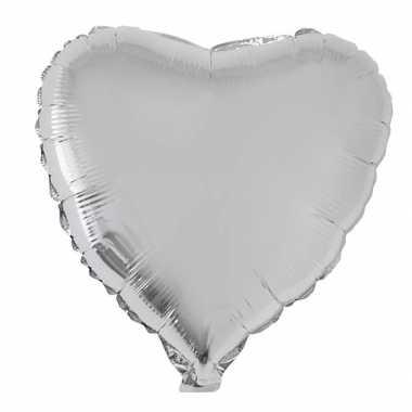 Gefeliciteerd ballon hart zilver 52 cm