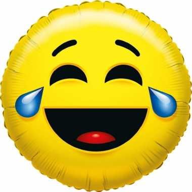 Gefeliciteerd ballon huilen van het lachen smiley 45 cm