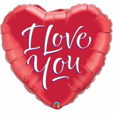 Gefeliciteerd ballon i love you hart rood 46 cm met helium gevuld