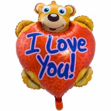Gefeliciteerd ballon i love you teddybeer 80 cm met helium gevuld