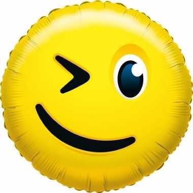 Gefeliciteerd ballon knipoog smiley 35 cm