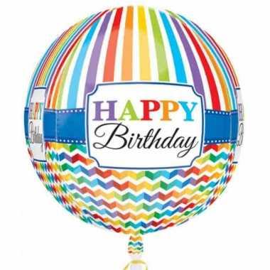 Gefeliciteerd ballon orbz/rond gefeliciteerd/happy birthday 40 cm met