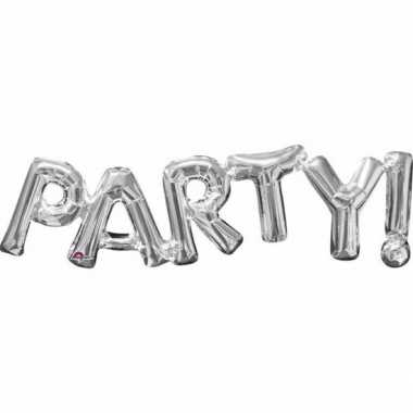 Gefeliciteerd ballon party zilver 83 cm