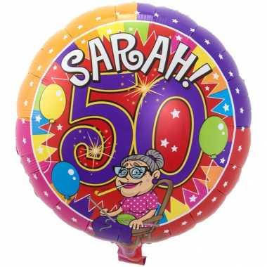 Gefeliciteerd ballon sarah 50 jaar verjaardag 43 cm met helium gevuld