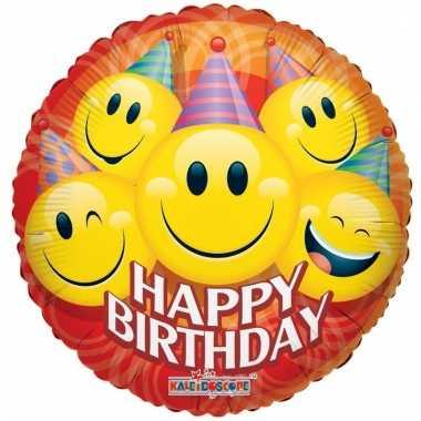 Gefeliciteerd ballon smiley jarig 45 cm