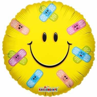 Gefeliciteerd ballon smiley met pleisters 45 cm