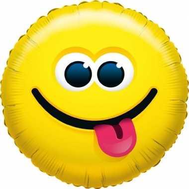 Gefeliciteerd ballon tong uitsteken smiley 45 cm