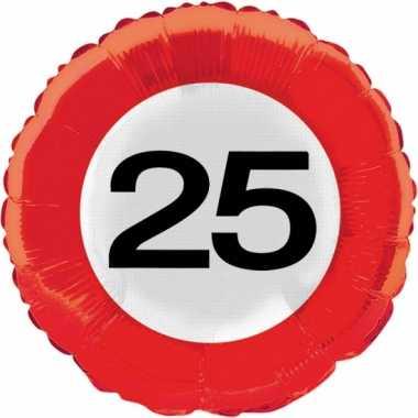 Gefeliciteerd ballonnen 25 jaar verkeersbord