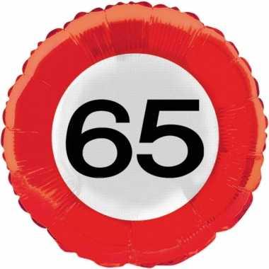 Gefeliciteerd ballonnen 65 jaar verkeersbord