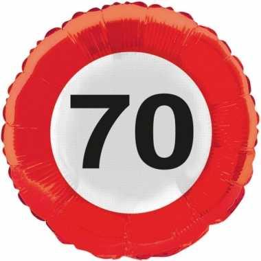 Gefeliciteerd ballonnen 70 jaar verkeersbord