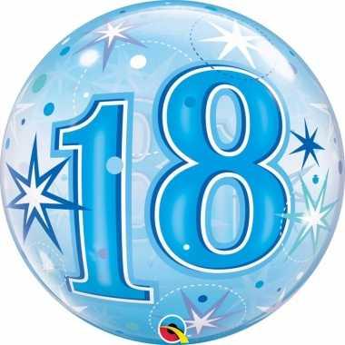 Gefeliciteerd helium ballon 18 jaar blauw 55 cm