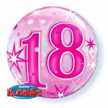 Gefeliciteerd helium ballon 18 jaar roze 55 cm