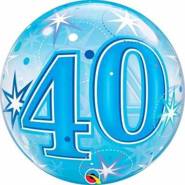 Gefeliciteerd helium ballon 40 jaar blauw 55 cm