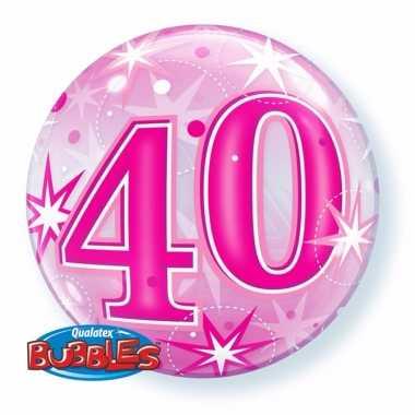 Gefeliciteerd helium ballon 40 jaar roze 55 cm