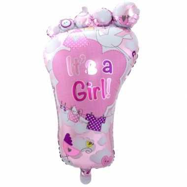 Gefeliciteerdballon voetje geboorte meisje 70 cm