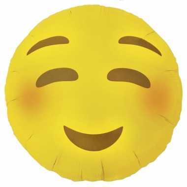 Gele emoticon gefeliciteerd ballon met blosjes 46 cm